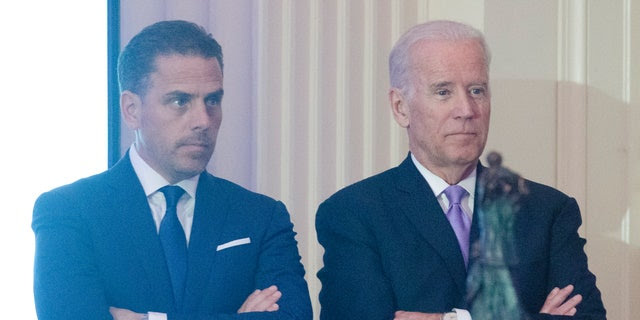 WFP USA Board Chair Hunter Biden introduces his father Vice President Joe Biden during the World Food Program USA's 2016 McGovern-Dole Leadership Award Ceremony at the Organization of American States on April 12, 2016, in Washington, D.C. (Kris Connor/WireImage)